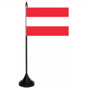Austria Desk / Table Flag with plastic stand and base.